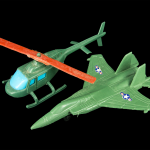 Green Army Men Helicopter and Fighter Jet