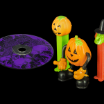 Scary Music CD, Posable Pumpkin Man, and Halloween Pez Dispensers